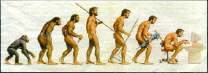 Based on the 1970 picture of human evolution called The March of Progress, Rudolph Zallinger